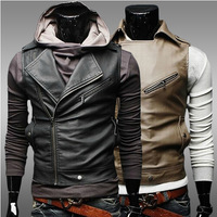 Newest Personalized Oblique Zipper Short Slim Fit Casual Men Vest Men's Motorcycle Leather Vests Man Sport Waistcoat Black Khaki
