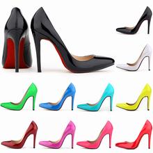 2015 Red mulheres Sole 11 cm saltos altos trabalho bombas mulheres sexy shoes big eua tamanho casamento sapatos de fundo vermelho(China (Mainland))