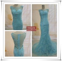 made in china style real sample pictures sky blue mermaid applique see through back lace elegant emerald green evening dress