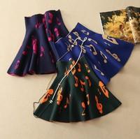 2014 autumn and winter women's high waist skirt fashion Musical notes short skirt all-match ladies' sweater skirt