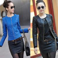 New 2014 spring women's leather clothing female short design slim o-neck PU motorcycle leather jacket coat WF-647