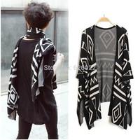 2014 New Women's Fashion Pope Retro Geometric Knitted Long Shawl Knitwear Cardigan Sweater Coat Blouse Tops 2 ways Black , Beige