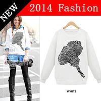 2014 casual women sweatshirt long sleeve cotton printed sweatshirts sports fashion hoodie sport brand woman hobby 911LX