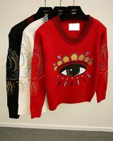 2014 Brand New Fashion Women Korean Eyes Short Slim Knit Pullover Ladies Casual Sweater Tops Women B1205