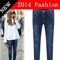 2014 fashion long boyfriend Jeans for Women skinny denim Blue Pants designer brand length jean Woman Casual ripped jeans 912LX