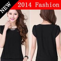 2014 summer crop top t shirt casual tops desigual blusas femininas brand lace black women t-shirt woman's tops clothes 912LX