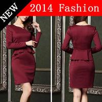 2014 office autumn women dresses casual elegant party dress work wear long sleeve vestidos plus size woman clothing 912LX