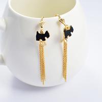 2014 Fashion Women's Titanium Steel Gold Black Dog Tassel   Drop Earrings Cute Earrings
