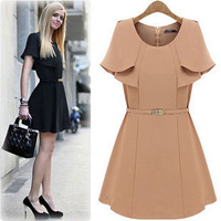 2015 Sale Freeshipping Party Dresses Europe And The United States A New Beautiful Heye Bian Lapel Design Dress Nude (no Belt)