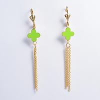 2014 Fashion Women's Titanium Steel Gold Green Flower Tassel   Drop Earrings Cute Earrings