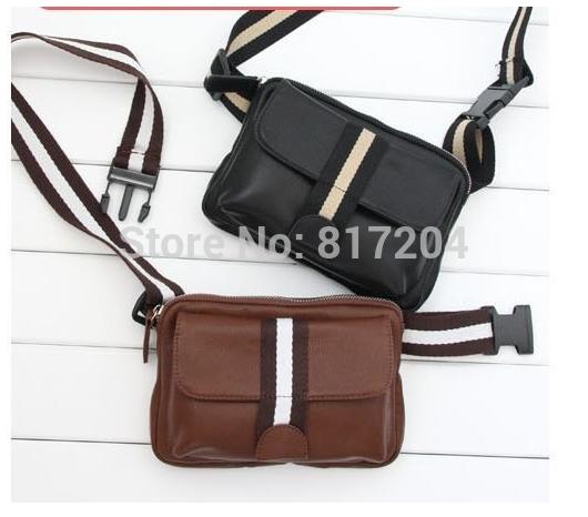 HOT Fashion Black Brown Mobile phone man bag high quality PU waist pack male shoulder bags Free shipping zf270(China (Mainland))