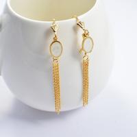 2014 Fashion Women's Titanium Steel Gold SimpleTassel  Drop Earrings Cute Earrings