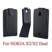 5PCS Black case for Nokia X2 flip leather case for Nokia X2 PU leather case cover Free shipping