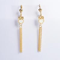 2014 Fashion Women's Titanium Steel Gold Owl Tassel  Drop Earrings Cute Earrings