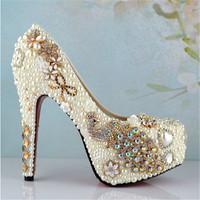 New arrival women handmade luxury rhinestone wedding shoes pearl bridal shoes high heels pumps