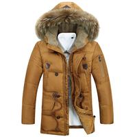 2014 New Winter Plus Size 3XLMen's Down Jacket For Men Detachable Hood Long Duck Down Winter jackets/overcoat,parka,trench