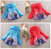 Girls Casual Outerwear Coat Children's Frozen Cartoon Hoody Jackets Children's hooded cotton jacket padded jacket