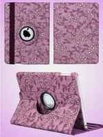 360 Rotating Smart Cover PU Leather Laser Carving Succinct Grape Pattern For iPad 2/3/4/5/Air/mini /mini 2 Protective Skin