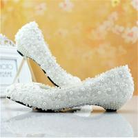 large size wedding shoes plus big size women white lace wedding shoes low heel bridal shoes