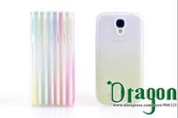 1pcs Clear Rainbow Colorful PC Frame Soft Silicone Rubber TPU Gel Shell case cover skin For Samsung Galaxy S4 S IV i9500