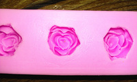 New Arrival!  Design 374  3-even Mini Rose Shape  Silicone 3D Cake Fondant  Mold, Cake Decoration Tool