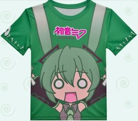 New vocaloid V Q Miku Anime Creative theme full-color round collar men sport T-shirt Costumes & Accessories Free Shipping