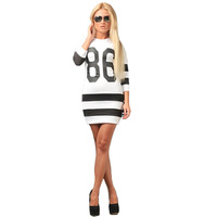 2014 women tight sexy 86 numbers print long sleeve striped slim dresses women Tops,2 colors,size M,L,XL free shipping