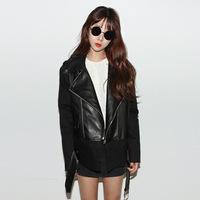2014 autumn women's turn-down neck slim short design motorcycle PU clothing pew coat leather jacket women (A2607 )
