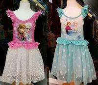 2014 new frozen dress, summer frozen princess gauze dress, Animated cartoon dress, Girls long-sleeved frozen dress.5pcs/lot
