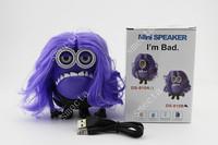 500PCS Despicable Me 2 Purple Minions Speaker With Wig support U-disk TF card FM  audio player Pefect Carton mini speaker