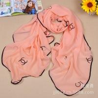 Women Fashion High Quality chiffon scarf pattern Kawaii fashion scarves large square letters scarf curling