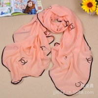 Women Fashion High Quality chiffon scarf pattern Kawaii fashion scarves large square letters scarf curling