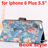 "For Apple iPhone6 Plus 5.5"" Elegant Flower Print Fabric + PU Leather Magnet Magnetic Credit Card Holder Wallet Stand Case Cover"