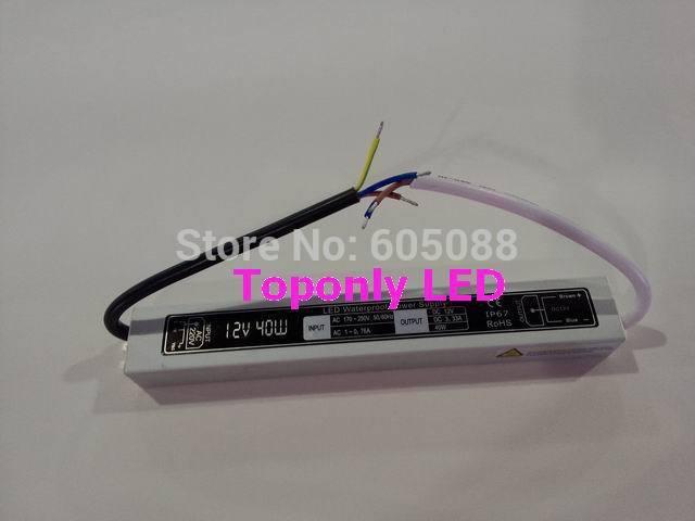 IP67 waterproof led dc driver 40w, AC110v/ 220v to DC12v/24v led transformer,using for led strip/module lighting,100pcs/lot!(China (Mainland))