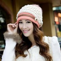 2014 New Wool Women Fedora autumn and winter color fox fur balls wool cap fashion spell color warm hat women belt wholesale