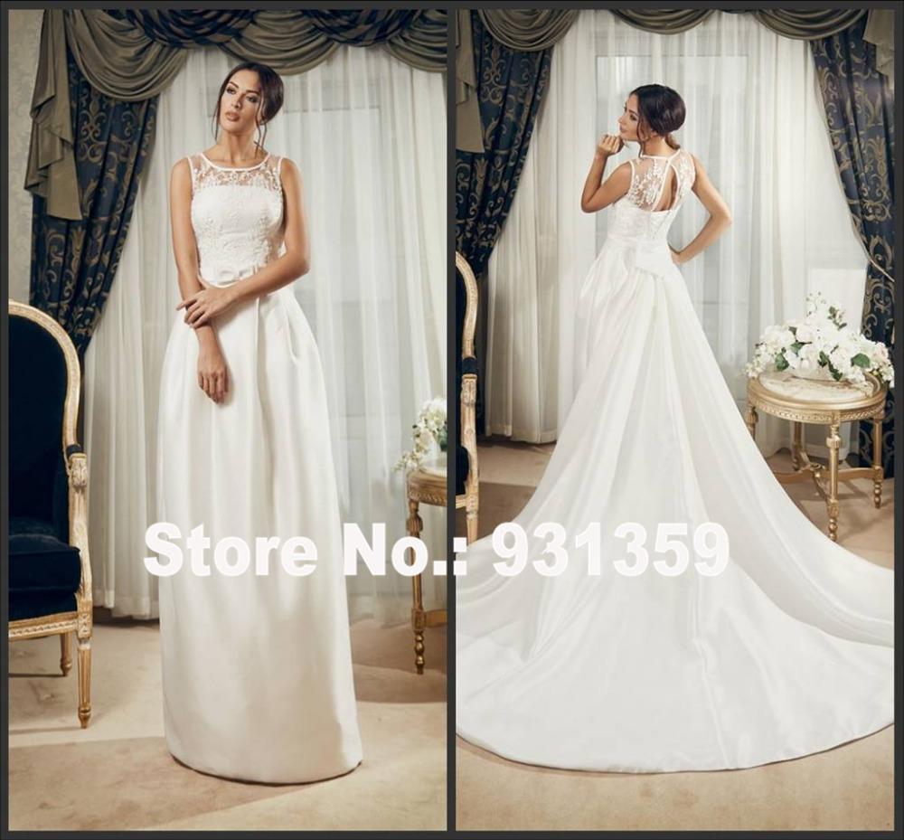 Elegant High Quality Satin Customized Floor Length Bride Wedding Vestido De Noiva Design WD060 detachable wedding dress train(China (Mainland))