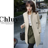 2014 Real Freeshipping Full Solid Women Coat New Winter Korean Long Sections of Self-cultivation Wool Woollen Overcoat Female