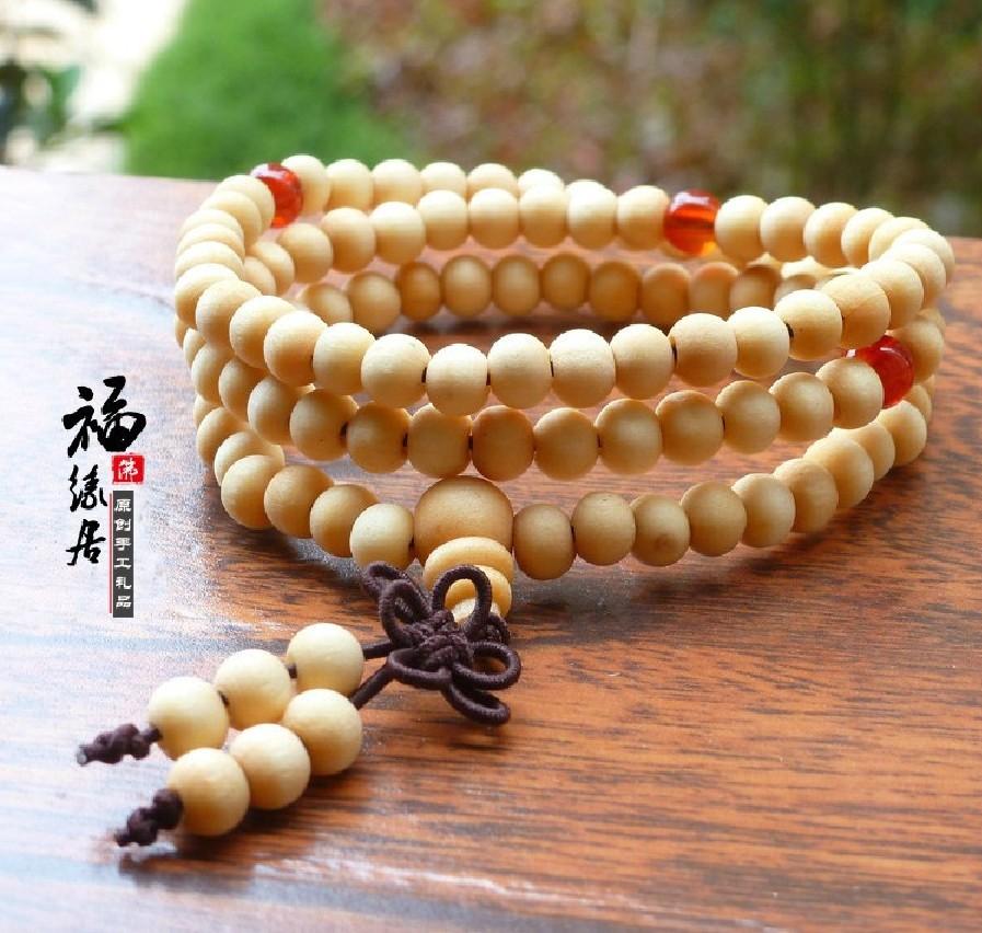 Tibete budismo 108 contas brancas oração Sandalwood Bead Mala cordas mão Sa-167(China (Mainland))