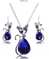 2014 wholesale retail fashion simple cat shape crystal pendant long chain necklace for women