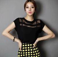 Summer New Women Black Tulle Sheer Blouses Shirts Ladies Tops Chiffon Blouse Short Hollow Out Blusas Femininas
