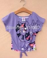 hot ! 2014 new style  little pony print  girl's short-sleeve T-shirt,4-14y girl tshirt