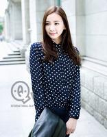 Europe new style long sleeve autumn polka dot chiffon blouse & shirts women Vintage Blusas Femininas workwear