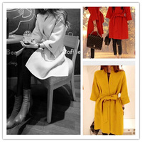 New 2014 Women's Autumn Winter Wool Blend Long Coats Warm Thick Trenches Three Quarter Sleeve Outwear + Sashes S M L XL ic851675