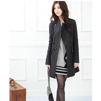 Overcoat Direct Selling Freeshipping Polyester Long Full Turn-down Collar Casacos Femininos 2014 New Coat Section (true Pocket)