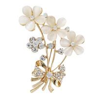 Free Shipping Fashion New Gold Opal Bouquet Flower Wedding Brooches For Women Men Crystal Rhinestone Brooch pins