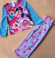 New little pony print character kids fleece pajamas sets sleepwear   girls clothing set kids pajamas