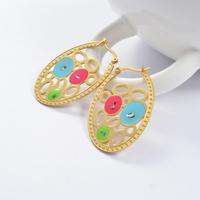 2014 Fashion Women's Titanium Steel Gold Colorful Oval Drop Earrings