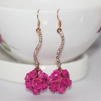 New Arrival Korean Style Bride Wedding Flower Shape Earring Popular Gift Drop Earring