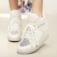 High Quality Rhinestone sequins Casual heavy-bottomed platform shoes Height increasing Waterproof PU Women single shoes