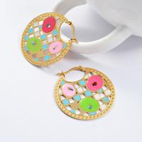 2014 Fashion Women's Titanium Steel Gold Grid Multicolour Round Drop Earrings